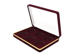 38mm金銀幣絨布盒(酒紅色)六枚裝