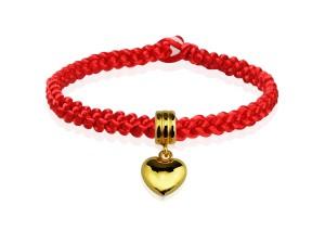 編織手環+黃金串飾-愛心
