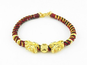編織手環-黃金串飾-貔貅搶珠