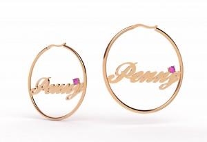 英文名字圓形耳環-鑲鑽