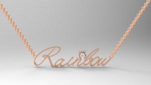 玫瑰金-姓名項鍊-鑲鑽