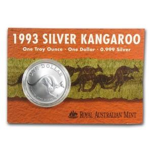 1993皇家澳洲袋鼠銀幣1盎司(原廠封卡)