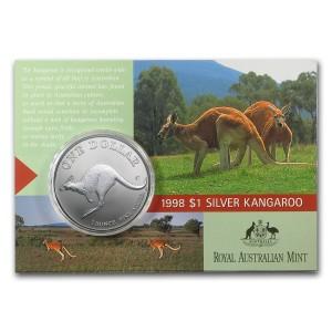 1998皇家澳洲袋鼠銀幣1盎司(原廠封卡)
