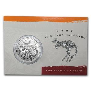 2003皇家澳洲袋鼠銀幣1盎司(原廠封卡)